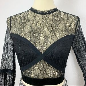 F21 Black See Through Flower Lace New Crop Top